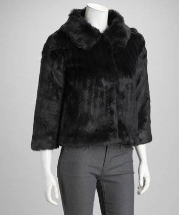 Black Snap-Front Faux Fur Chubby Jacket