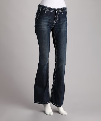 Vigoss Blue Denim Slit Pocket Flare Jeans