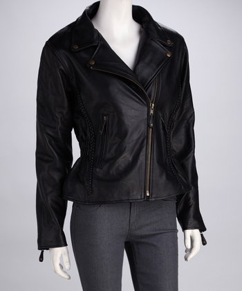 Black & Gold Leather Jacket - Women & Plus