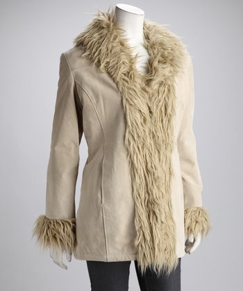 Beige Faux Fur Suede Coat - Women & Plus