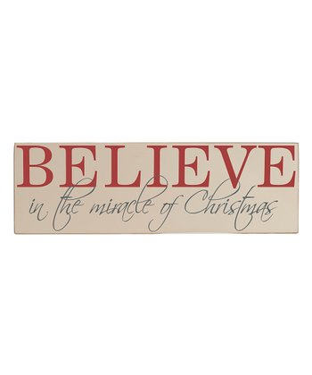Cream & Red 'Believe' Wall Art