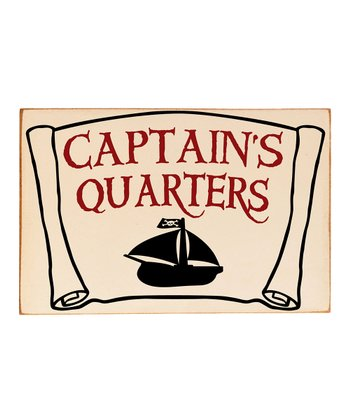 Cream & Black 'Captain's Quarters' Wall Plaque