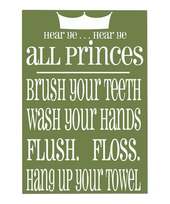 Green & White Prince Bathroom Rules Plaque