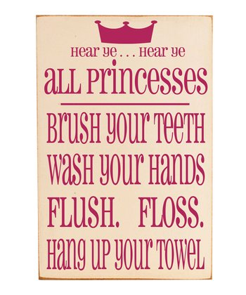Cream & Pink 'Princesses' Bathroom Rules Wall Art