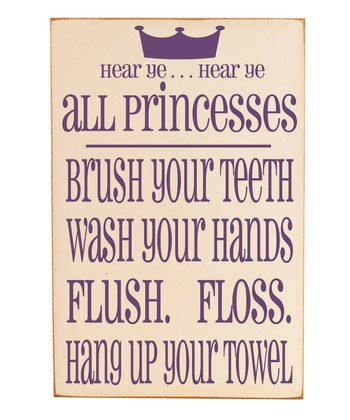 Cream & Purple 'Princesses' Bathroom Rules Wall Art