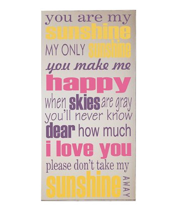 Cream & Pink 'You Are My Sunshine' Wall Art
