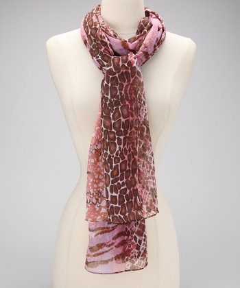 Pink & Brown Silk Chiffon Scarf