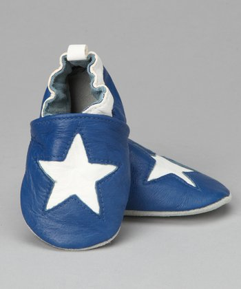 Violet Del Mar Blue & White Big Star Booties