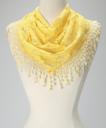 Violet Del Mar Yellow Lace Fringe Scarf