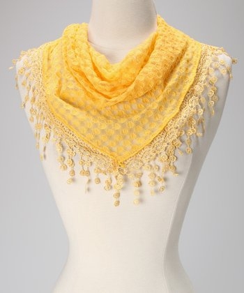 Violet Del Mar Yellow Polka Dot Lace Fringe Scarf