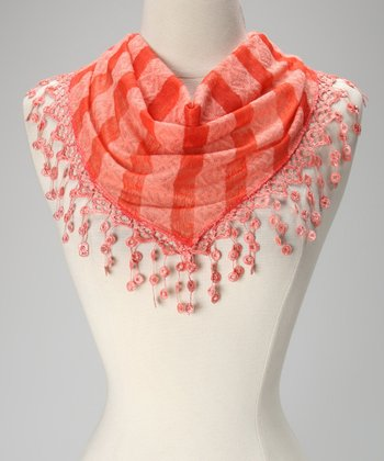 Orange Stripe Lace Fringe Scarf