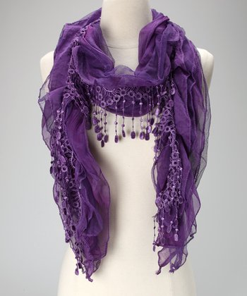 Violet Del Mar Purple Lace Chiffon Scarf