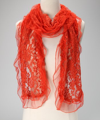 Violet Del Mar Orange Sheer Lace Scarf