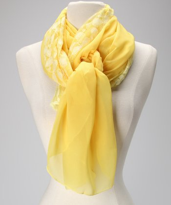 Violet Del Mar Yellow Leaf Lace Chiffon Scarf