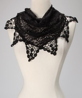 Violet Del Mar Black Lace Triangle Scarf