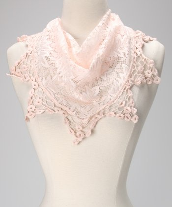 Pink Lace Triangle Scarf