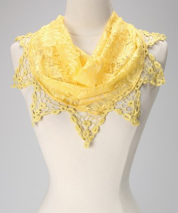 Yellow Lace Triangle Scarf