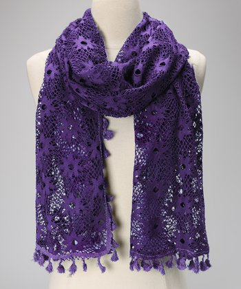 Violet Del Mar Purple Lace Tassel Scarf