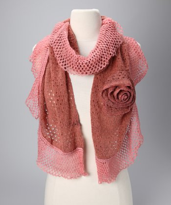 Pink Crocheted Scarf