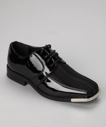 Black Satin Silver Tip Lace-Up Oxford