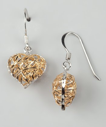 Gold Heart & Sterling Silver Dangle Earrings