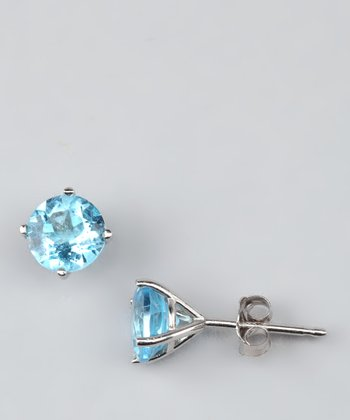 Blue Topaz & White Gold Stud Earrings
