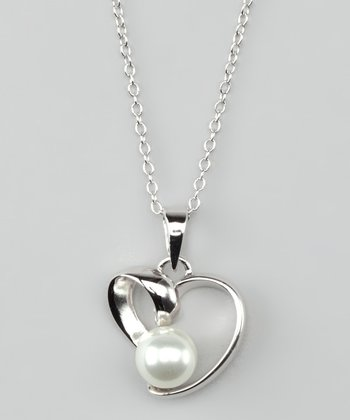 Sterling Silver & Bead Heart Pendant Necklace