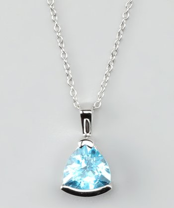 Blue Topaz & Sterling Silver Triangle Pendant Necklace