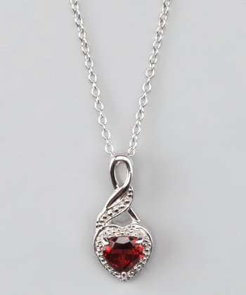 Garnet & Sterling Silver Heart Pendant Necklace