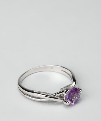 Purple Amethyst & Sterling Silver Twist Ring
