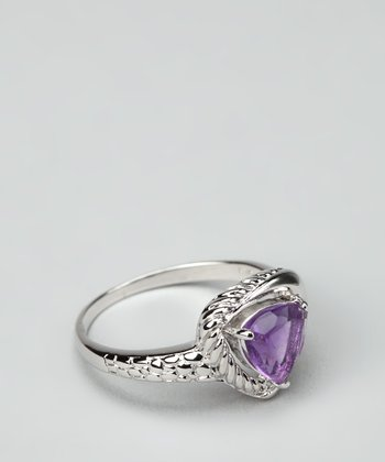 Amethyst & Sterling Silver Triangle Ring