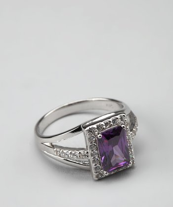 Purple Cubic Zirconia & Sterling Silver Rectangle Ring