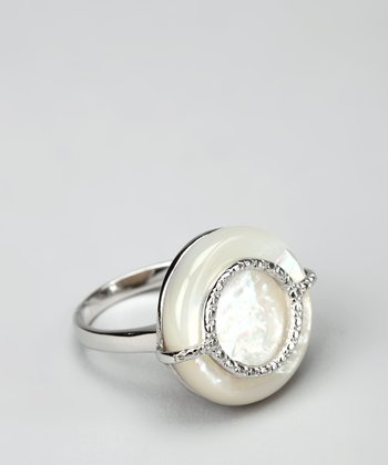 Mother-of-Pearl & Sterling Silver Circle Ring