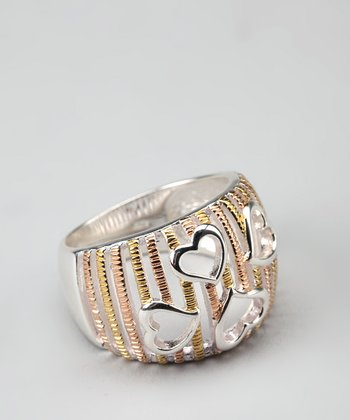Gold & Sterling Silver Heart-Cutout Ring