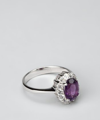 Purple Amethyst & Sterling Silver Oval Ring