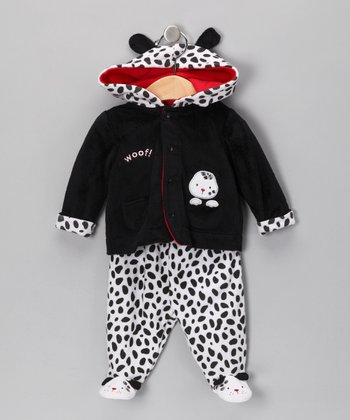 Black & White 'Woof' Hooded Jacket & Footie Pants - Infant