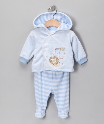 Light Blue Lion Hooded Jacket & Footie Pants