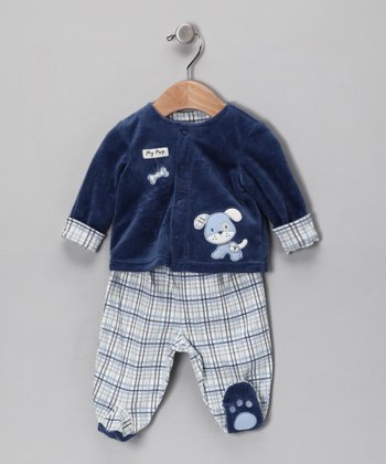 Blue Puppy Jacket & Footie Pants