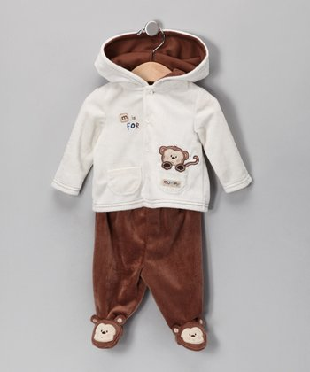 Brown Monkey Hooded Jacket & Footie Pants