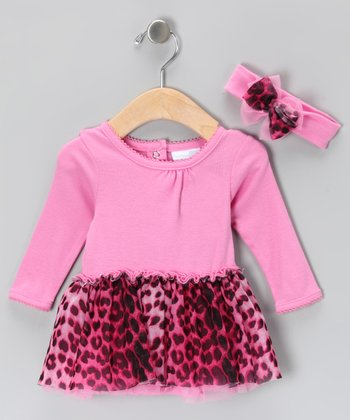 Pink Leopard Dress & Headband