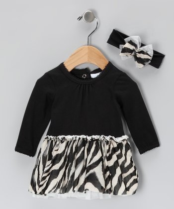 Vitamins Baby Black Zebra Dress & Headband - Infant