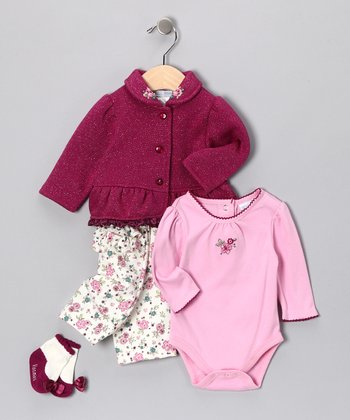 Burgundy & Pink Floral Pants Set