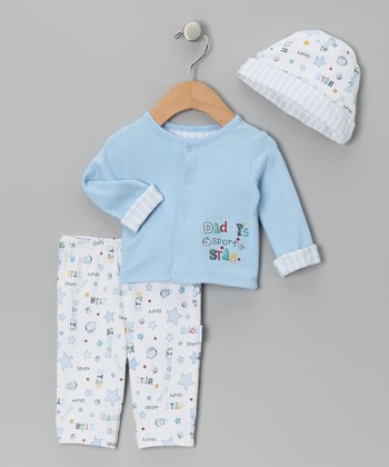 Blue 'Daddy's Sport Star' Cardigan Set