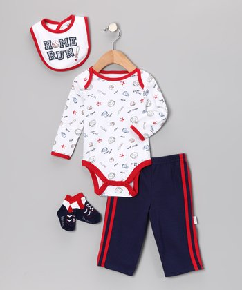 Navy 'Home Run' Bodysuit Set - Infant