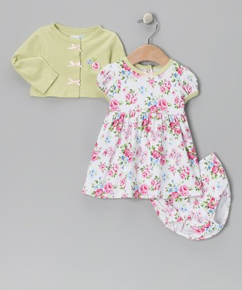 Green Floral Dress Set - Infant