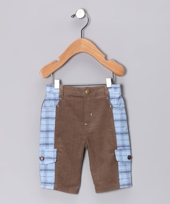 Brown & Blue Plaid Cargo Pants