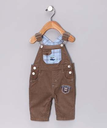 Brown & Blue Plaid Car Overalls