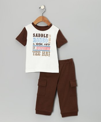 Brown 'Saddle Up' Tee & Cargo Pants - Infant