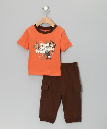 Orange 'Wild Jungle Trail' Tee & Cargo Pants - Infant