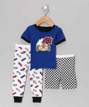 Blue 'Go!' Pajama Set